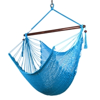 Caribbean Hammock Chair with Footrest - 40 inch - Soft-spun Polyester - (Light Blue)