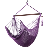 Caribbean Hammock Chair with Footrest - 40 inch - Soft-spun Polyester - (Purple)