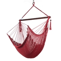 Caribbean Hammock Chair with Footrest - 40 inch - Soft-spun Polyester - (Red)
