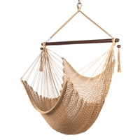 Caribbean Hammock Chair with Footrest - 40 inch - Soft-spun Polyester - (Tan)
