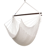 Large Caribbean Hammock Chair 48 Inch Soft Spun Polyester- WHITE